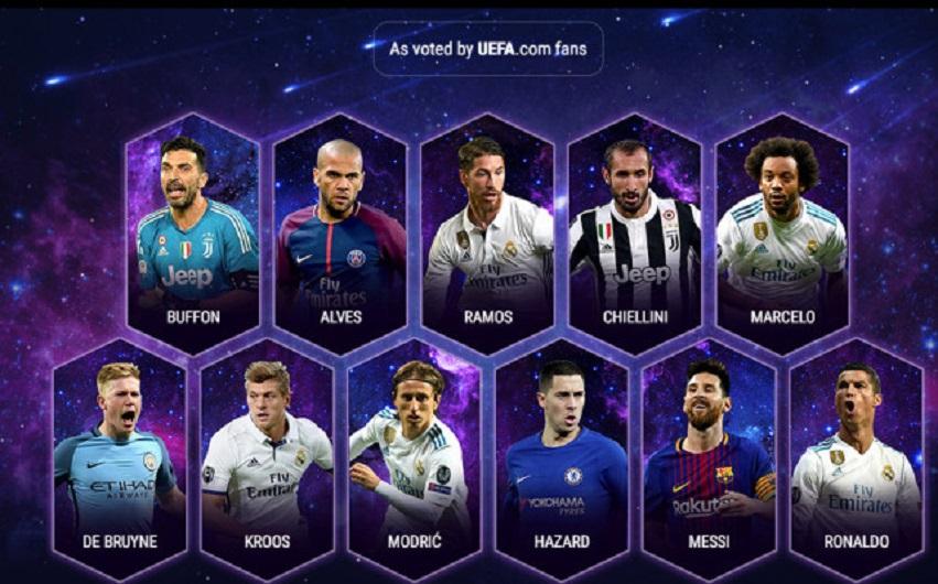 欧足联年度最佳11人阵容:梅罗领衔 皇马5人入选