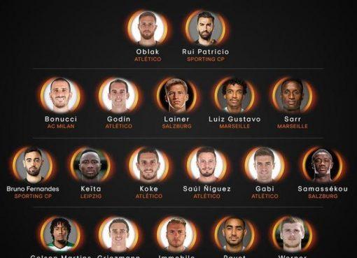 欧联杯赛季最佳大名单:马竞6人入选 格子在列
