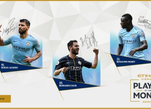 曼城8月队内最佳球员候选:阿圭罗、门迪、B席