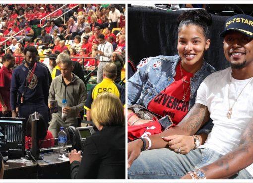 沃尔、比尔来到现场观看WNBA总决赛第三战