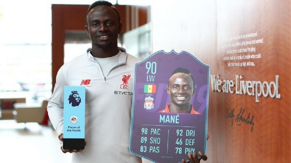 马内当选英超3月最佳球员 利物浦包揽两大荣誉