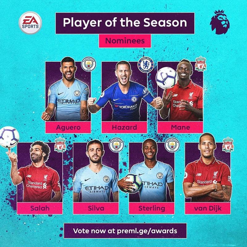 英超公布赛季最佳球员候选 曼城利物浦各3人阿扎尔入选