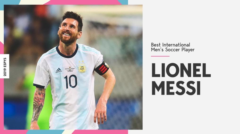 恭喜!梅西当选2019年ESPY最佳男足球员