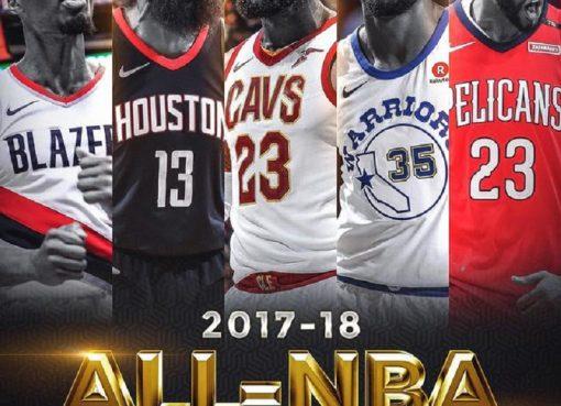 NBA最佳阵容出炉:东詹西詹全票当选